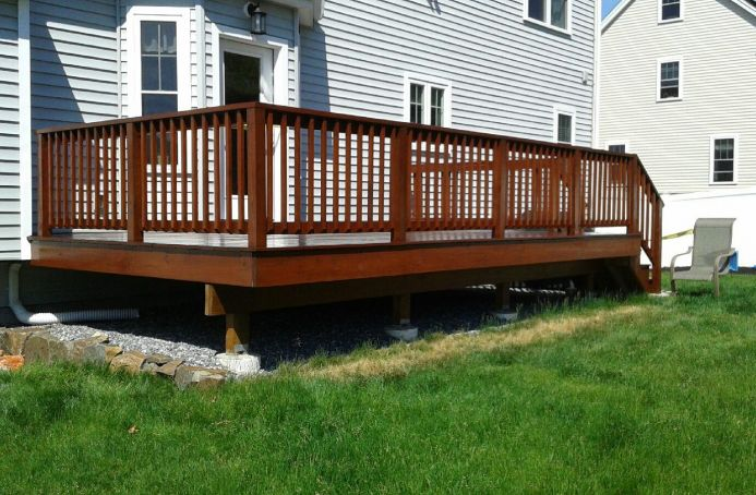 Pressure-Treated Pine Deck with a Mahogany Finish