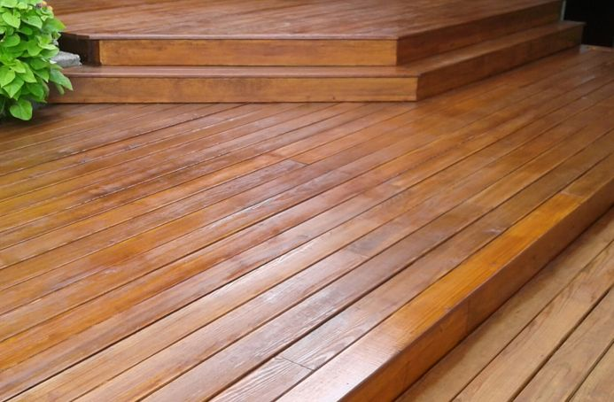 Pressure-Treated Pine Deck Finished with Dark Oak