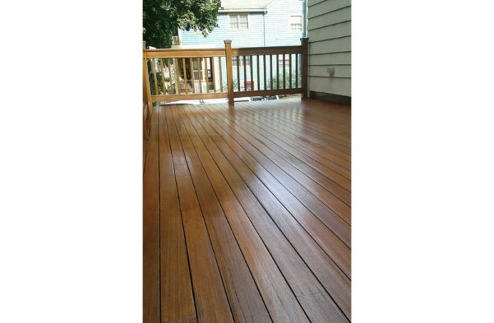 Pressure-Treated Pine Deck with Teak Tone Sealer