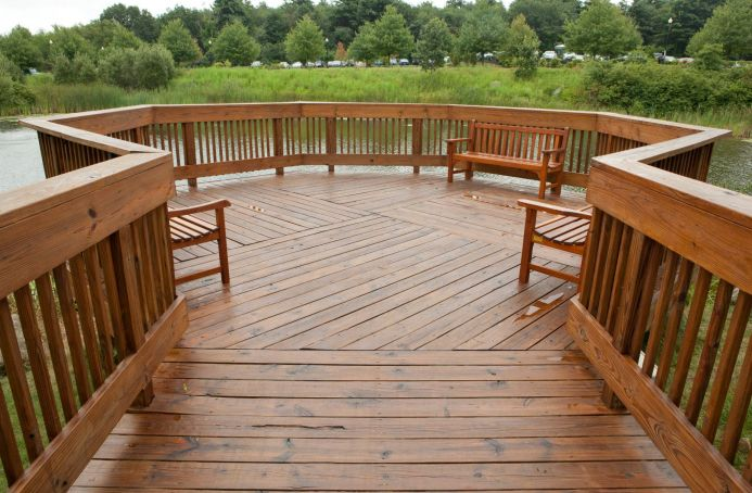 Pressure-Treated Deck & Gazebo in a Natural Tone Sealer